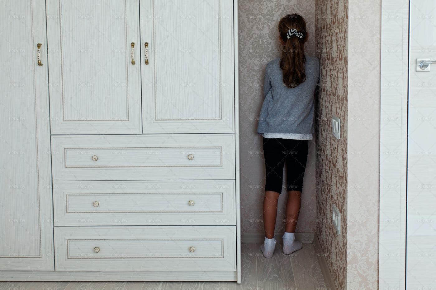 Girl Stands In Corner: Stock Photos