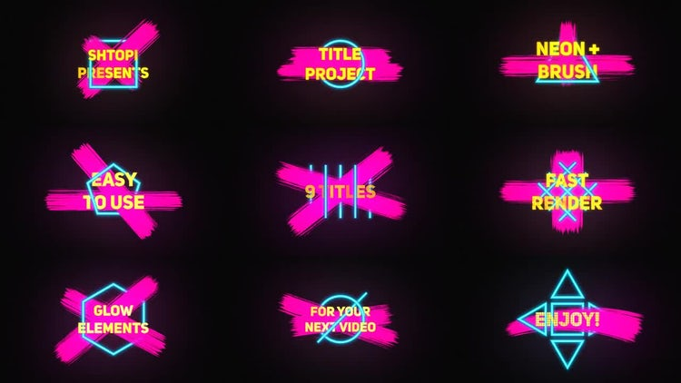 Neon Brush Titles: After Effects Templates