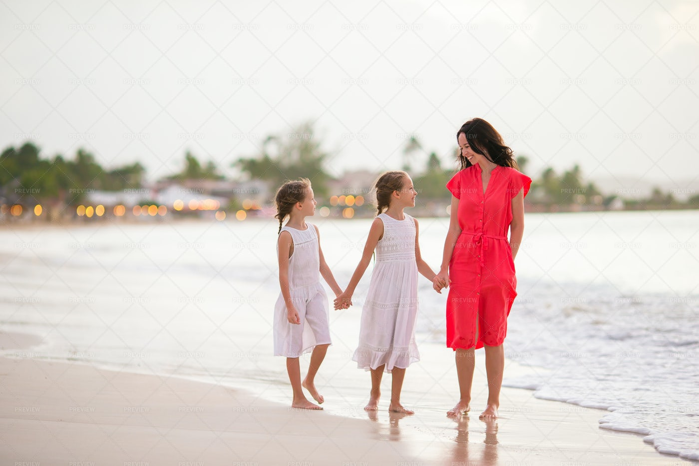 Little Girls And Mother: Stock Photos