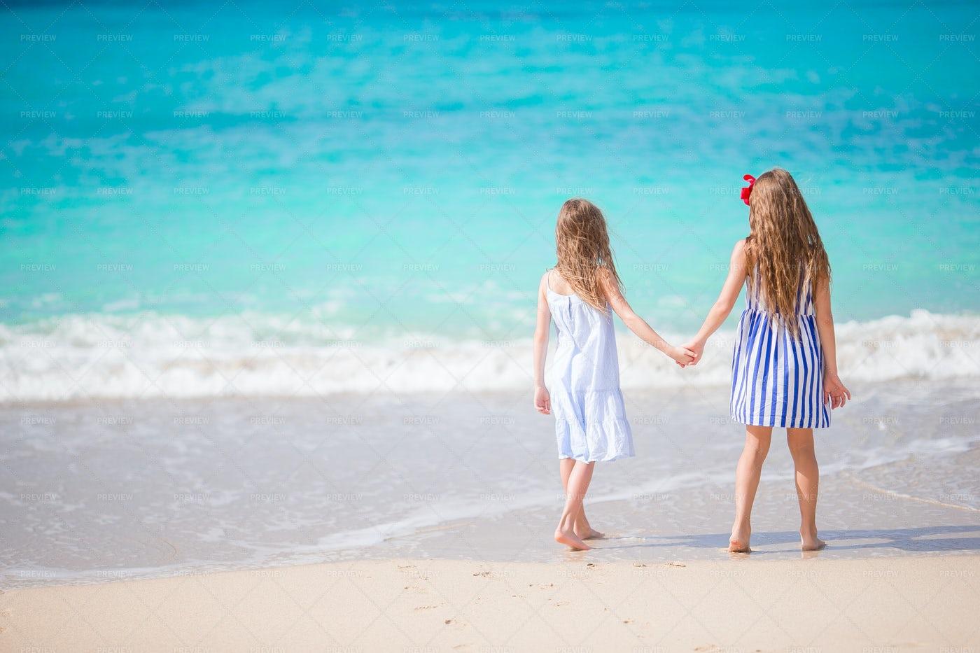 Little Girls At Beach: Stock Photos