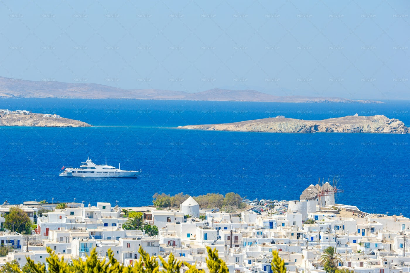 Ferry By The Greek Village: Stock Photos