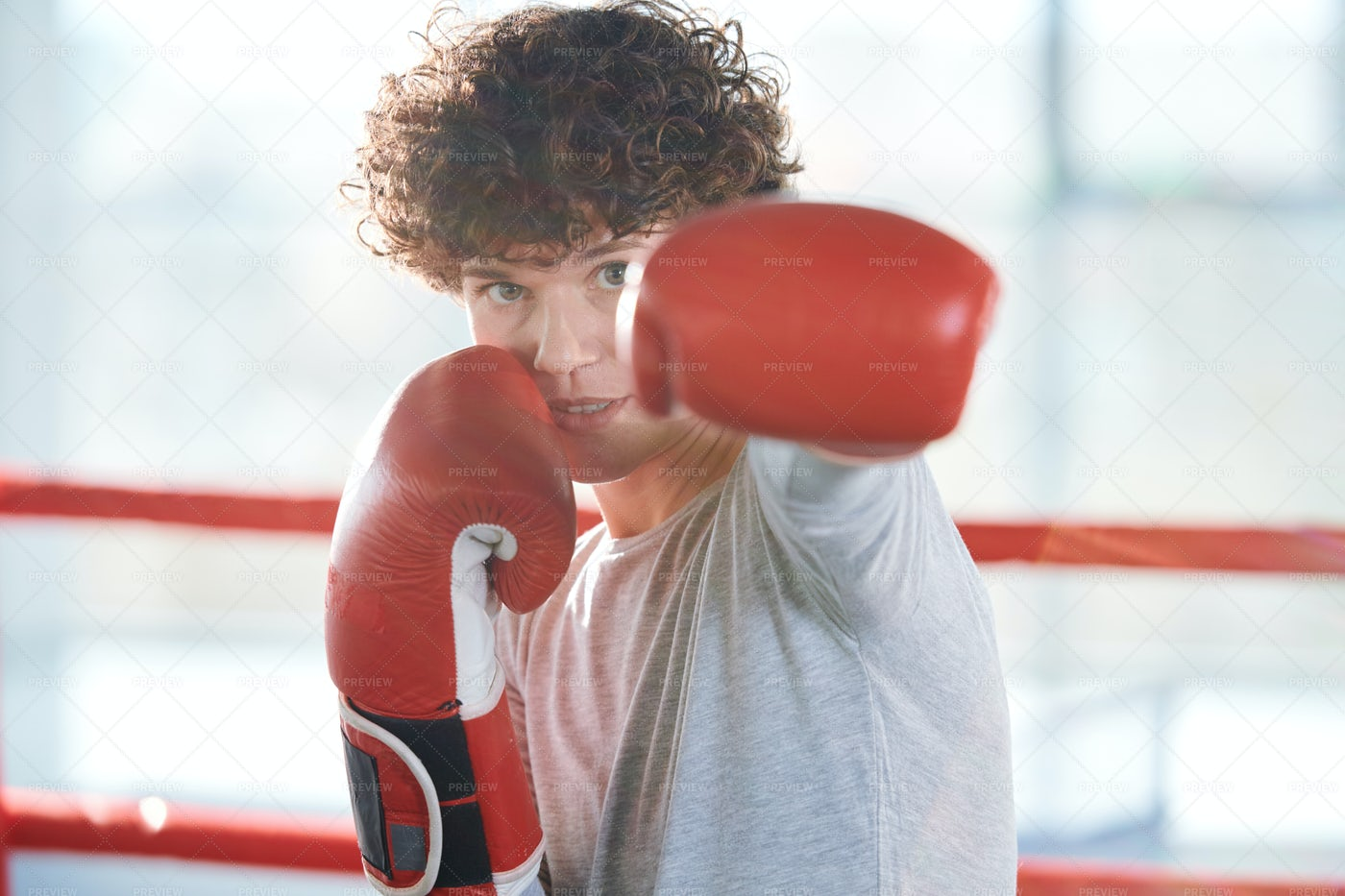 Preparing For Boxing Competition: Stock Photos