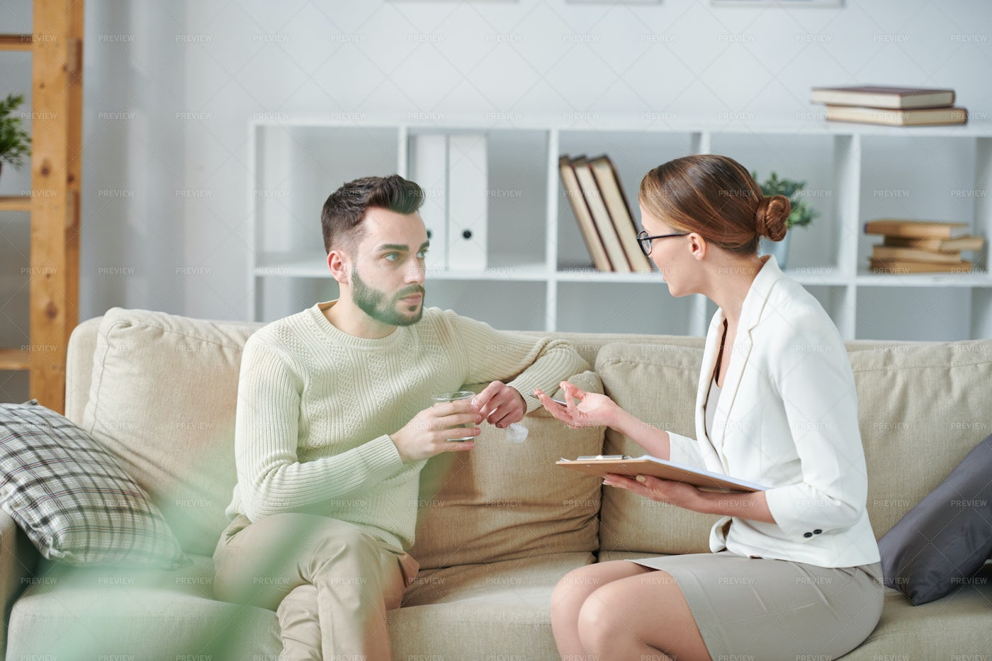 Interaction On Couch: Stock Photos