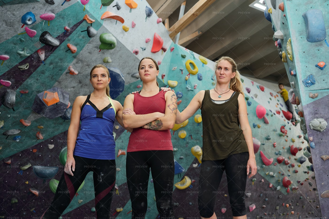 Three Young Active Females In...: Stock Photos