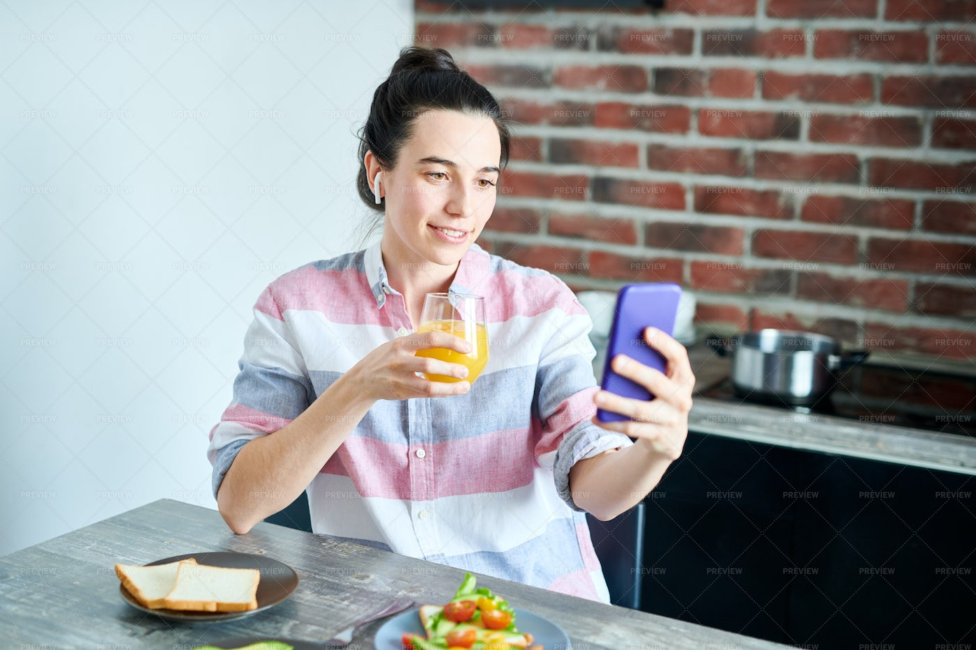 Using Video Chat At Breakfast: Stock Photos