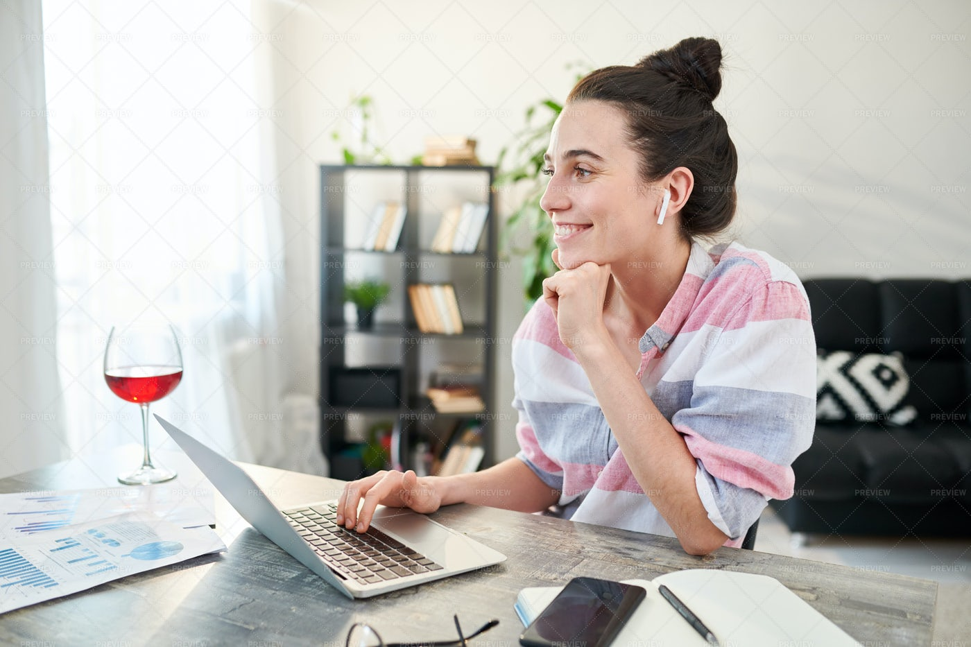 Happy Young Woman Working From Home: Stock Photos
