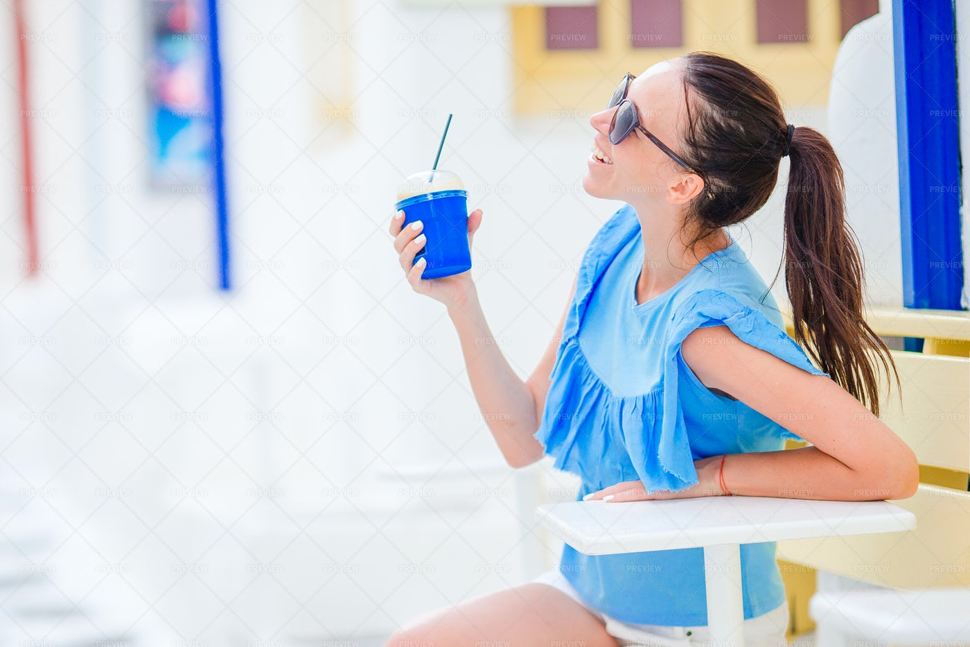 Vacationing Woman With Coffee: Stock Photos