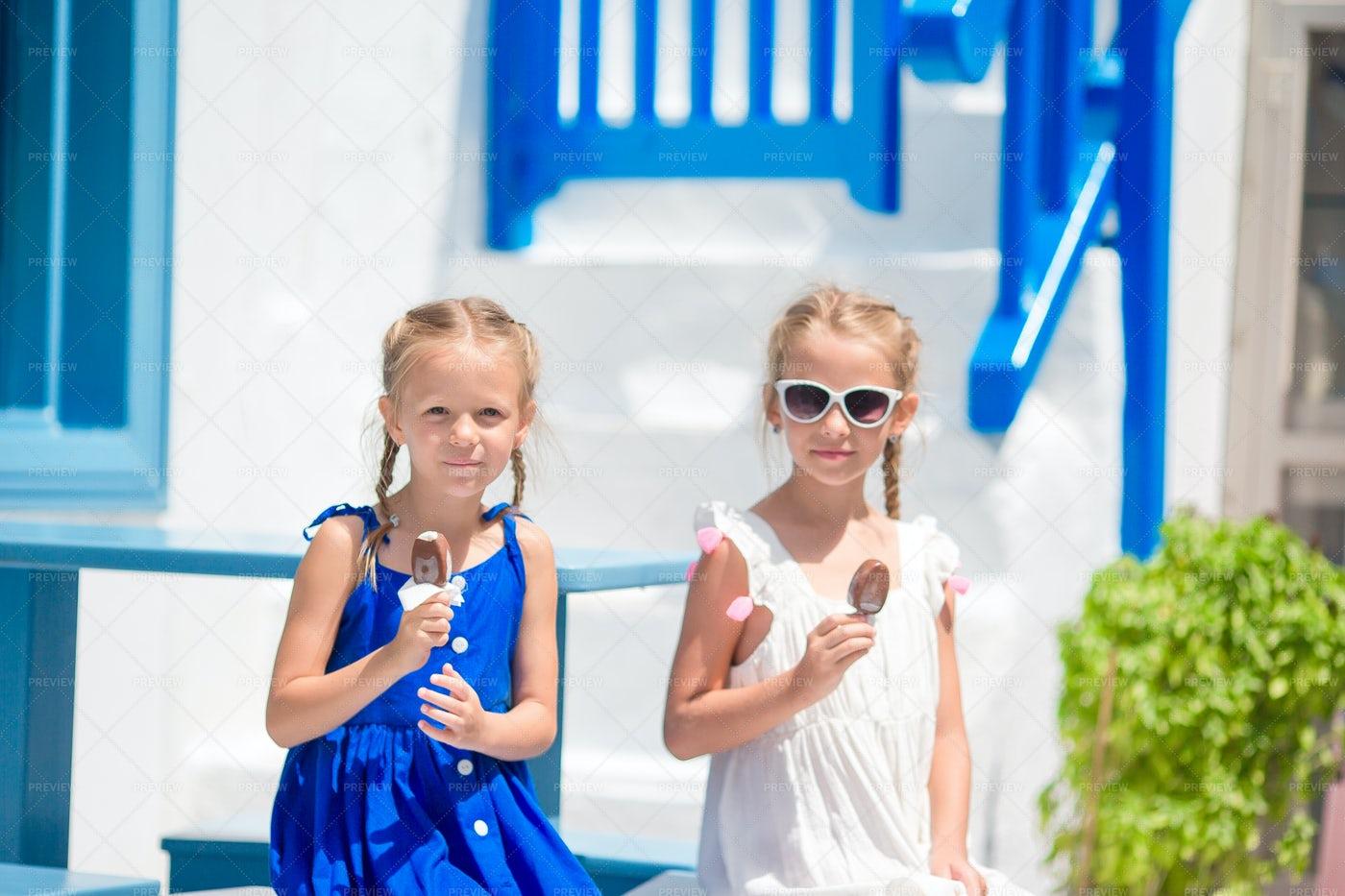 Girls In Blue Dresses: Stock Photos
