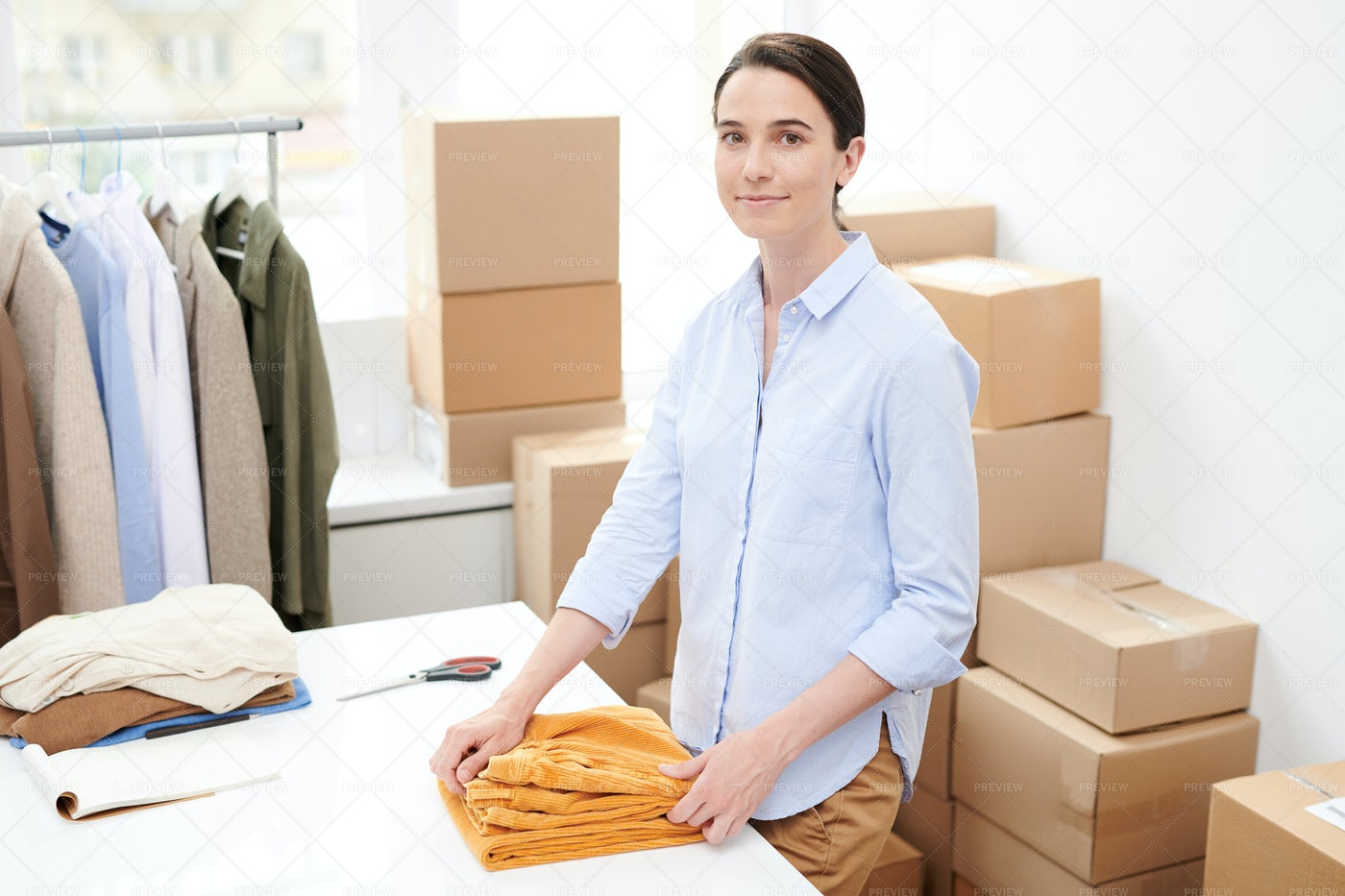 Young Brunette Female Manager In...: Stock Photos