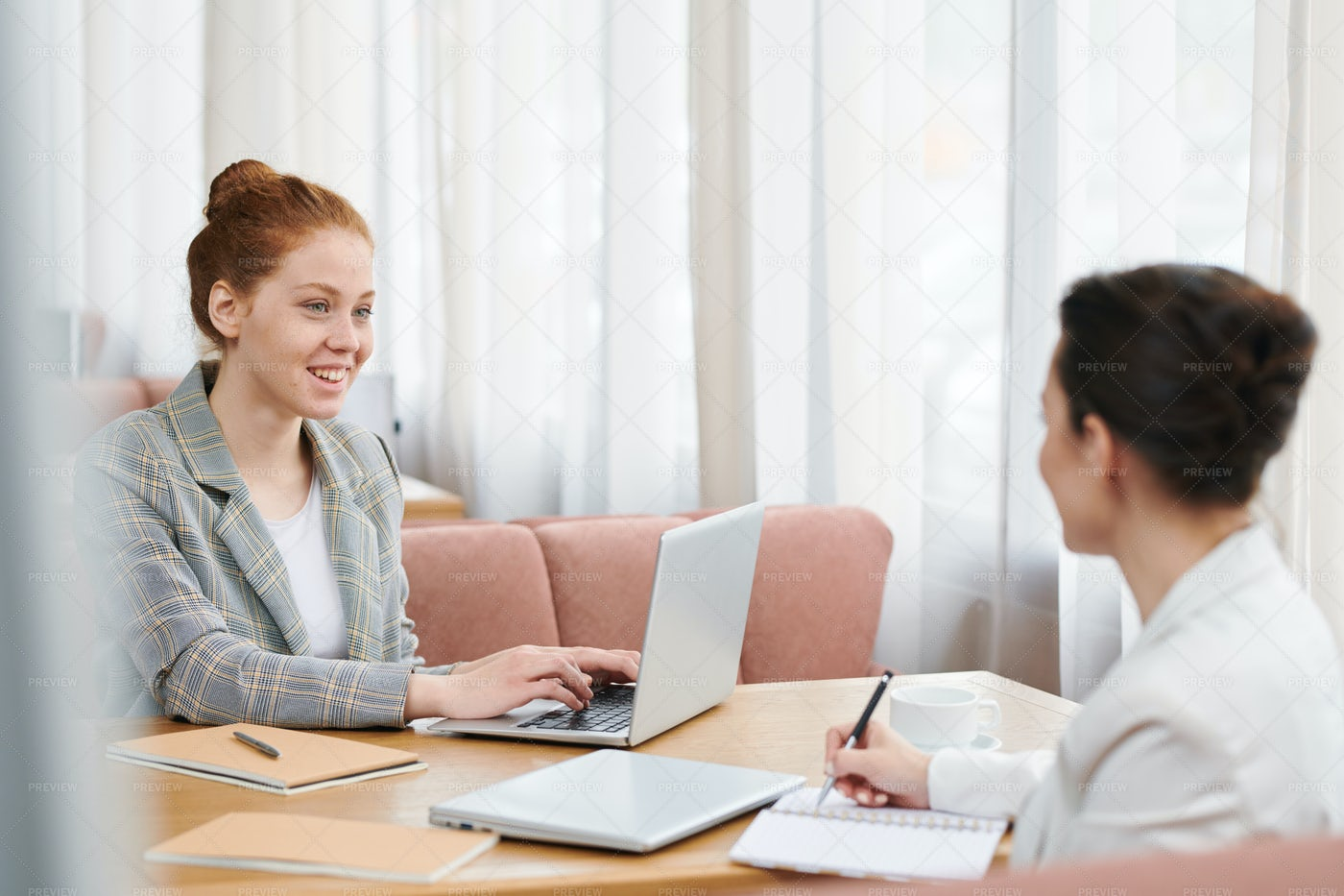 Meeting With Adviser In Cafe: Stock Photos