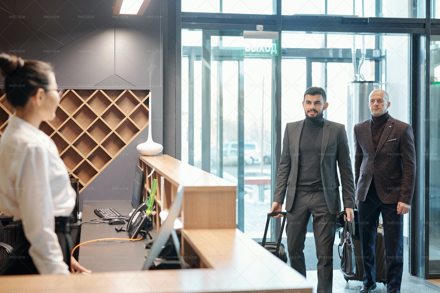 Two Elegant Business Travelers With...: Stock Photos