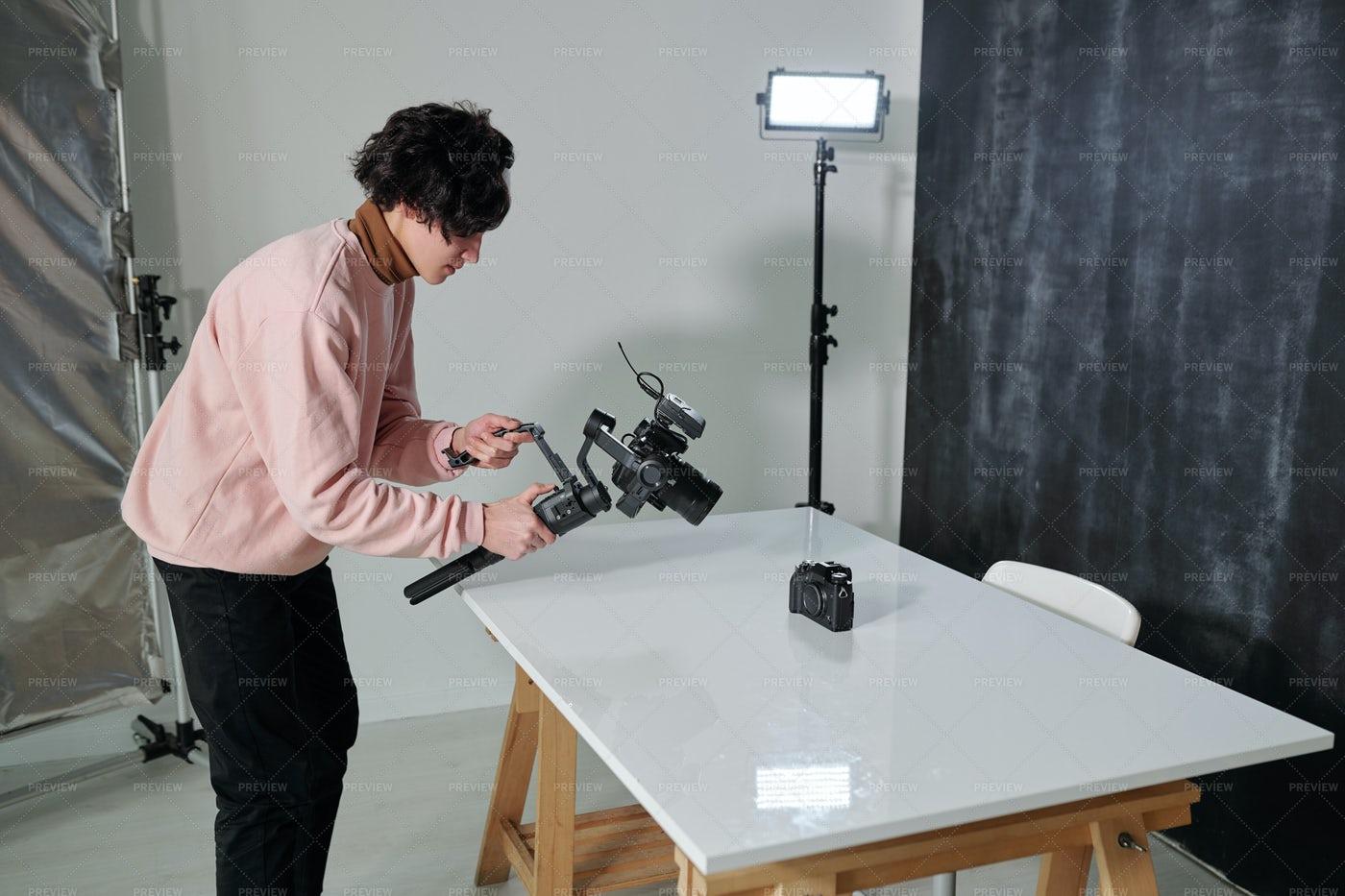 Young Contemporary Video Blogger...: Stock Photos