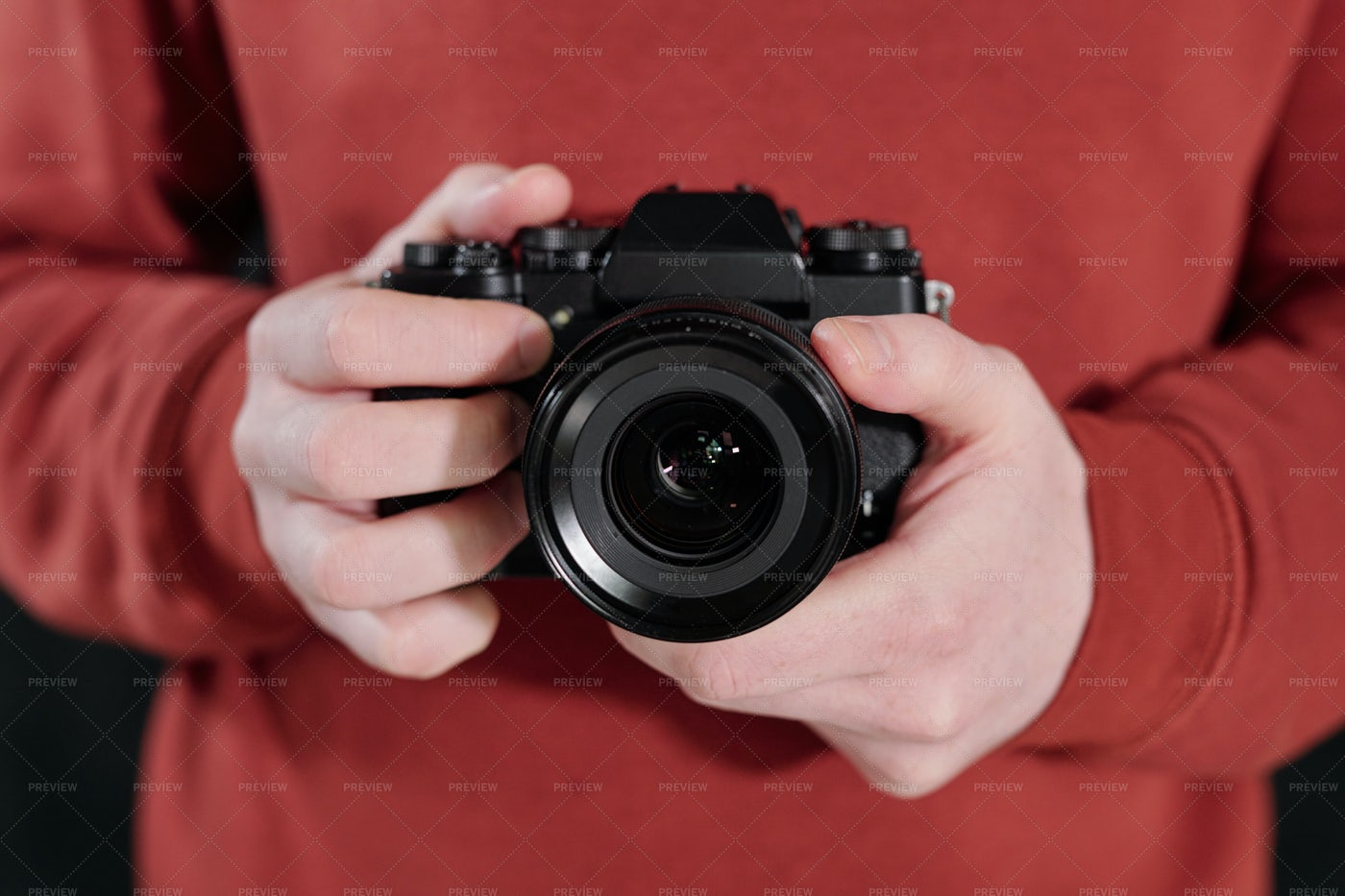 Hands Of Young Male Photographer In...: Stock Photos