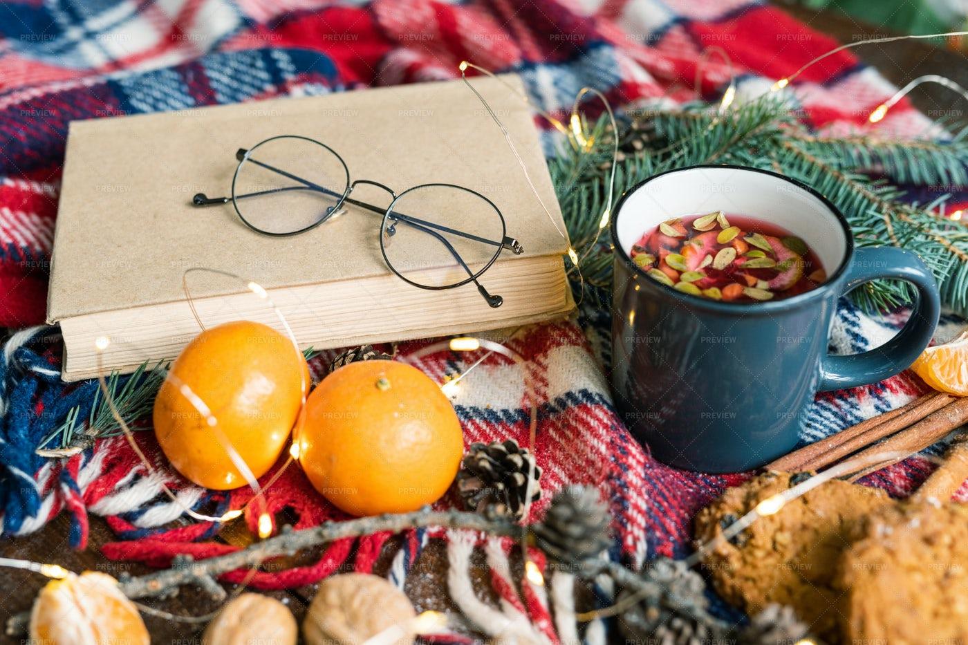 Book With Eyeglasses, Mug Of Hot...: Stock Photos