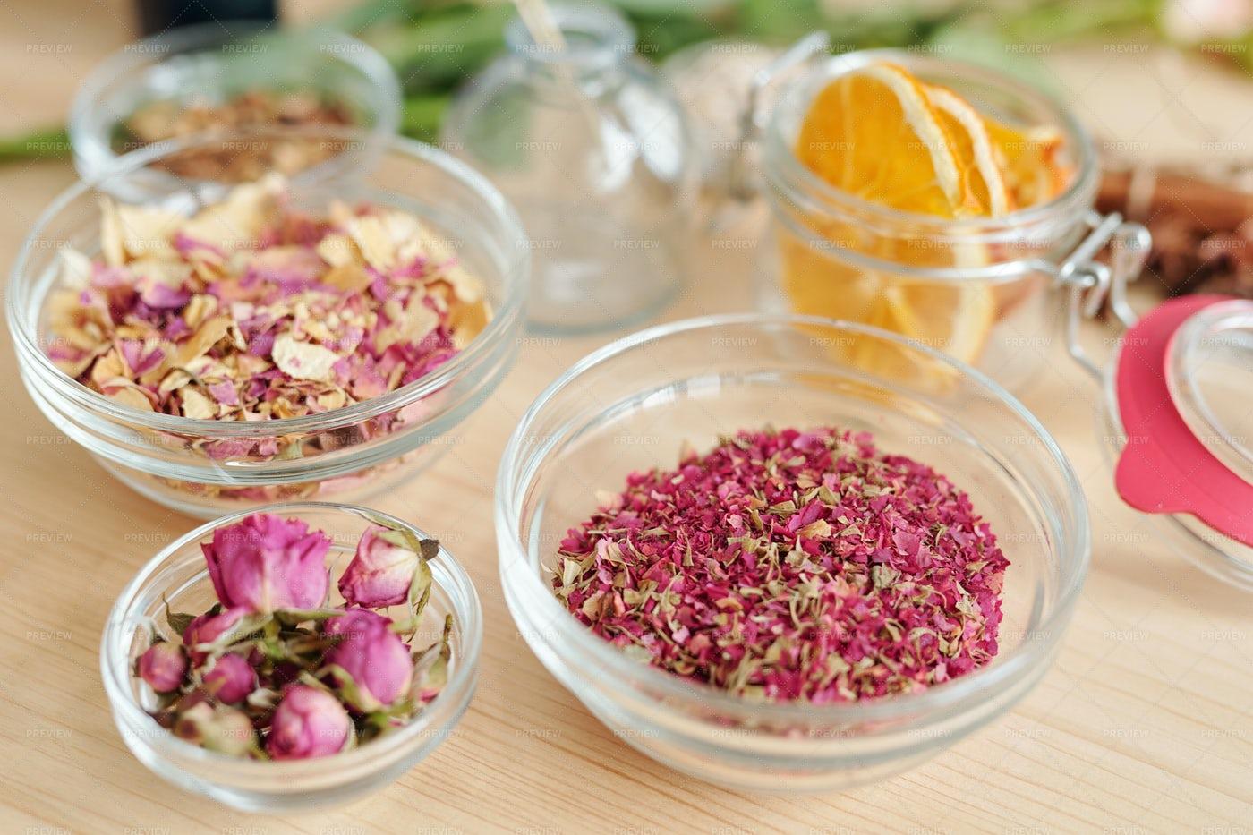 Three Bowls With Dry Rose Petals...: Stock Photos