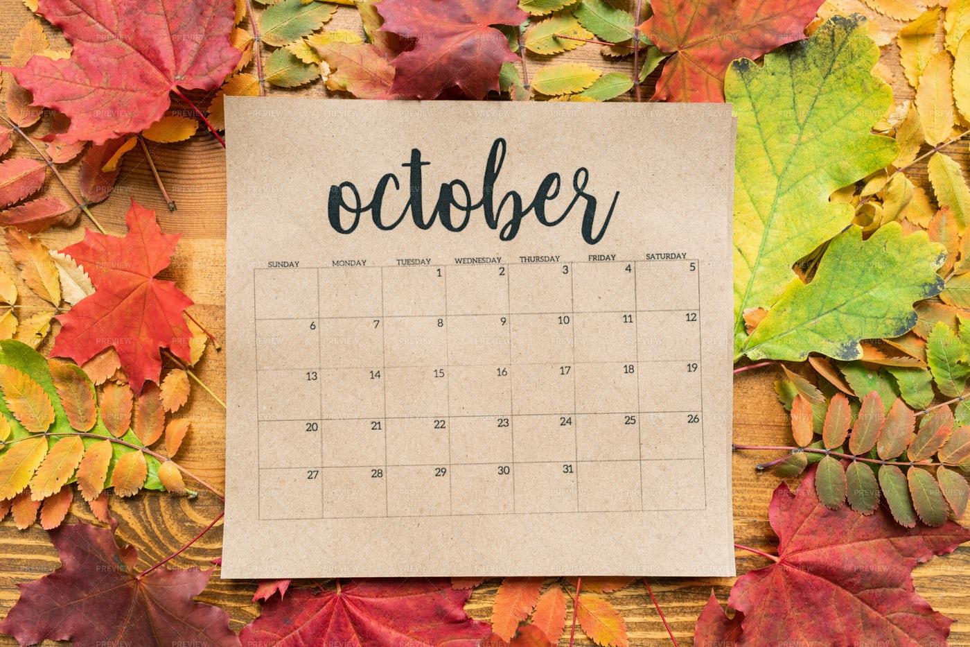 Overview Of October Calendar Sheet...: Stock Photos