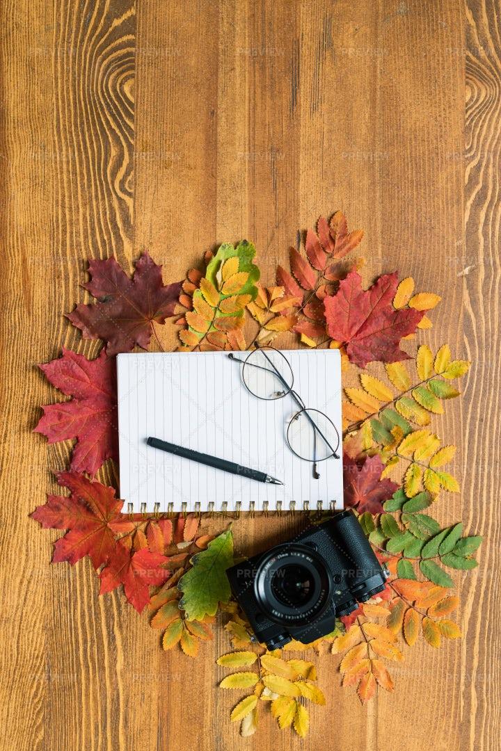 Top View Of Photocamera, Copybook...: Stock Photos