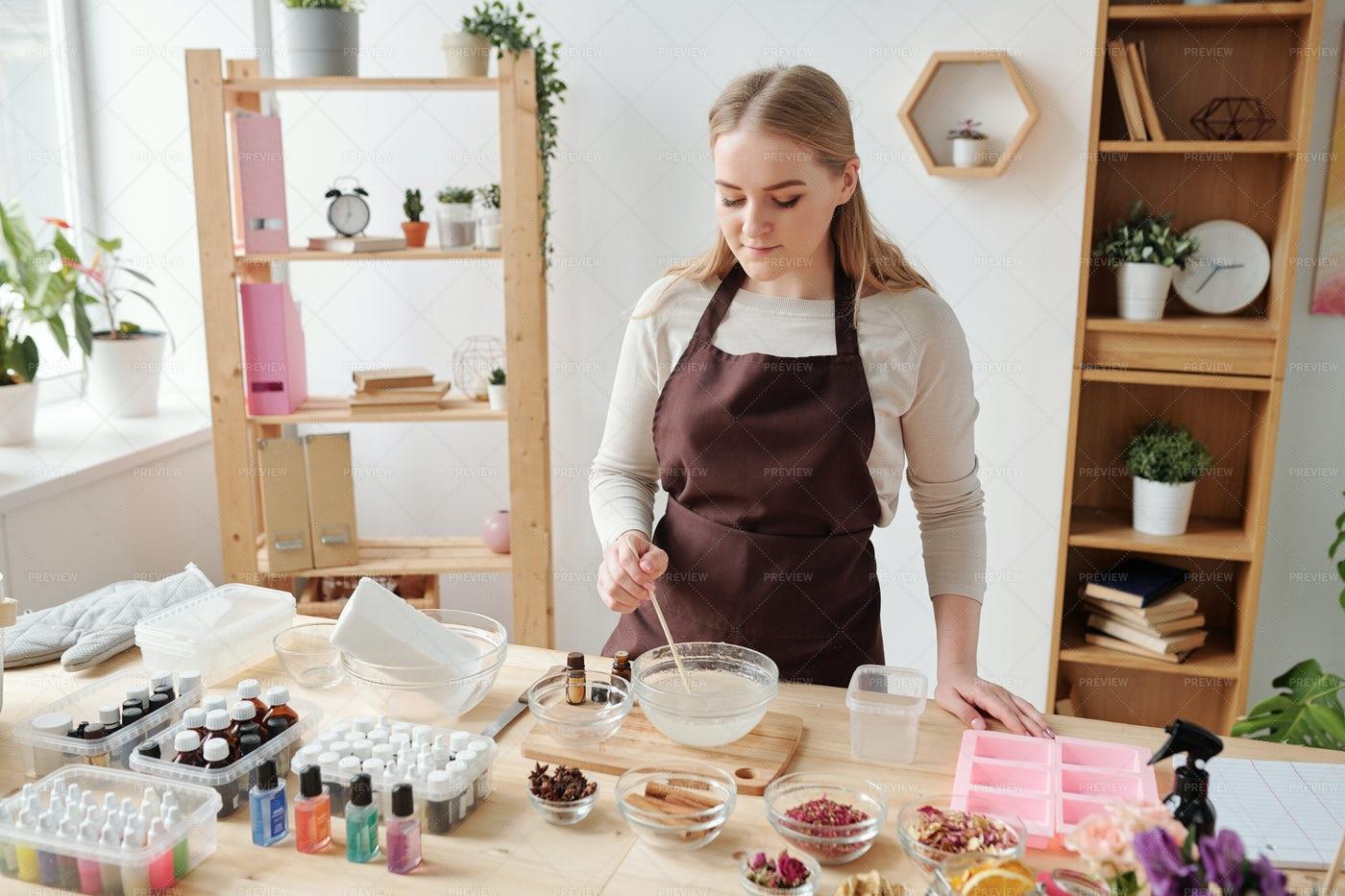 Craftswoman Mixing Liquid Soap Mass...: Stock Photos