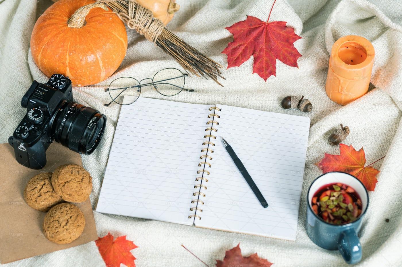 Composition Of Autumn Harvest, Food...: Stock Photos