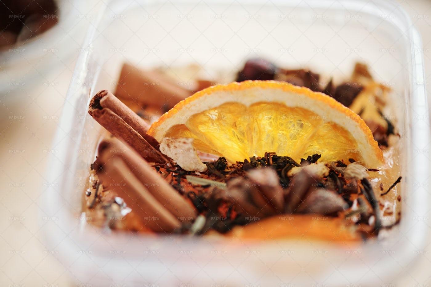 Fresh Orange Slice, Cinnamon Sticks...: Stock Photos