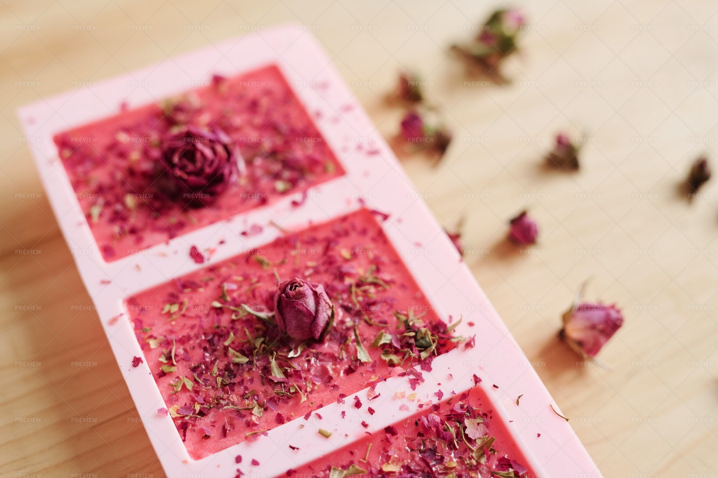 Handmade Soap Sprinkled By Grated...: Stock Photos