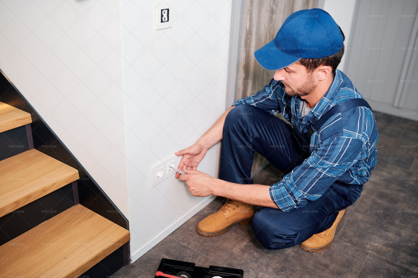 Professional Electrician In...: Stock Photos