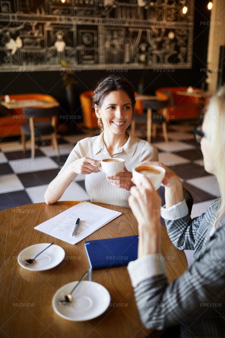 Negotiating By Cup Of Coffee: Stock Photos