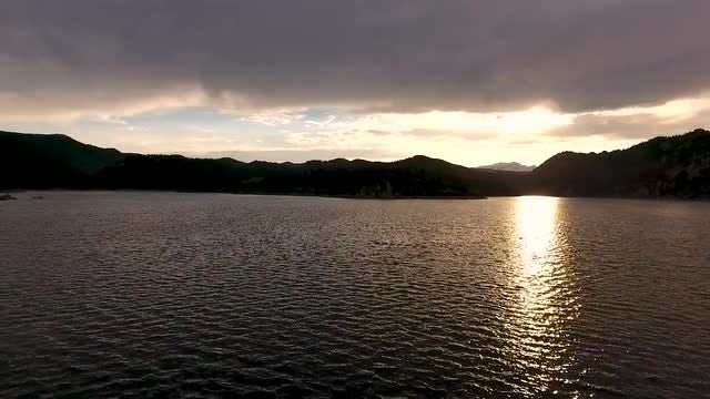 Lake Sunset Flyby: Stock Video