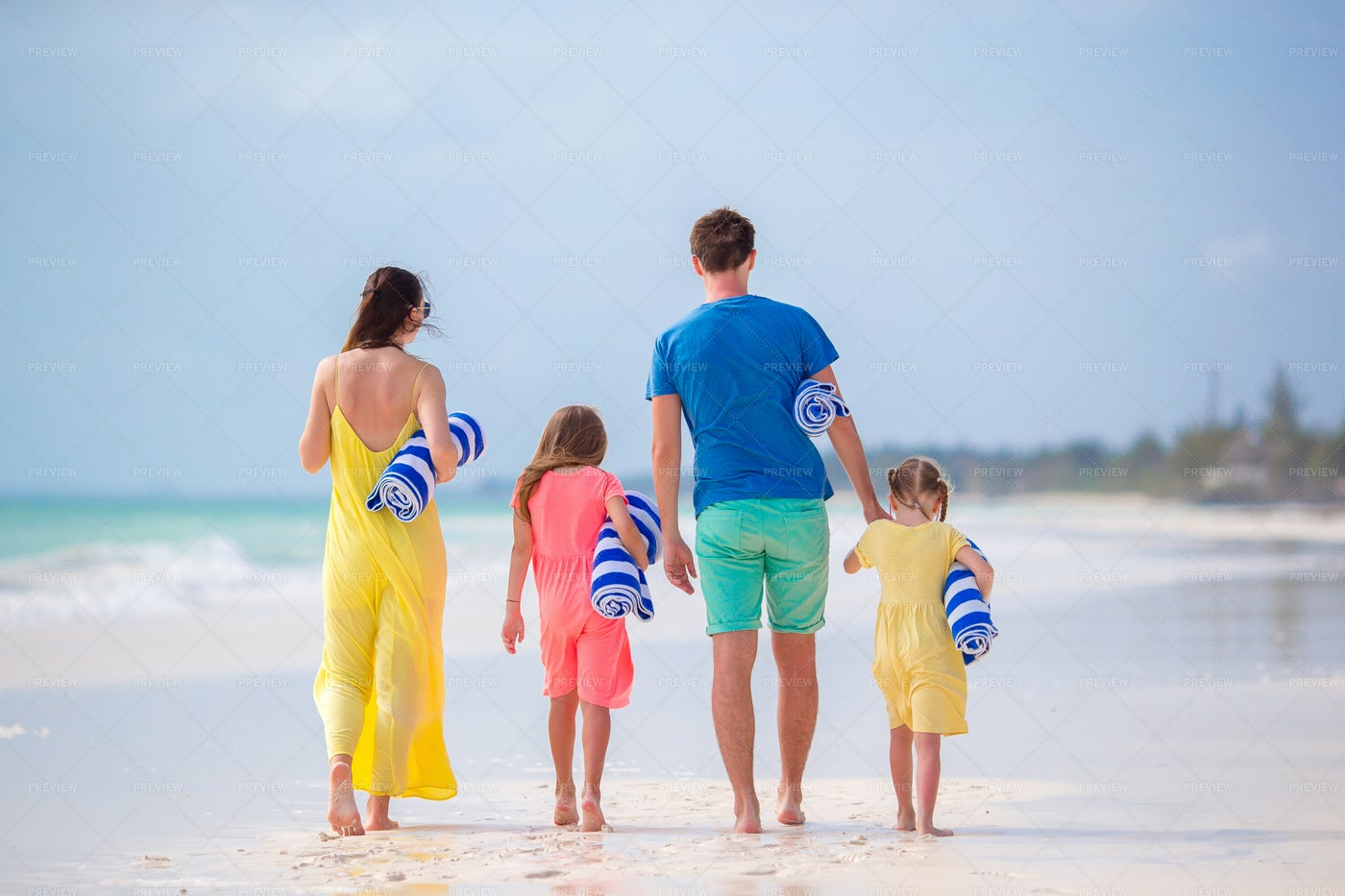 Family And Their Towels: Stock Photos