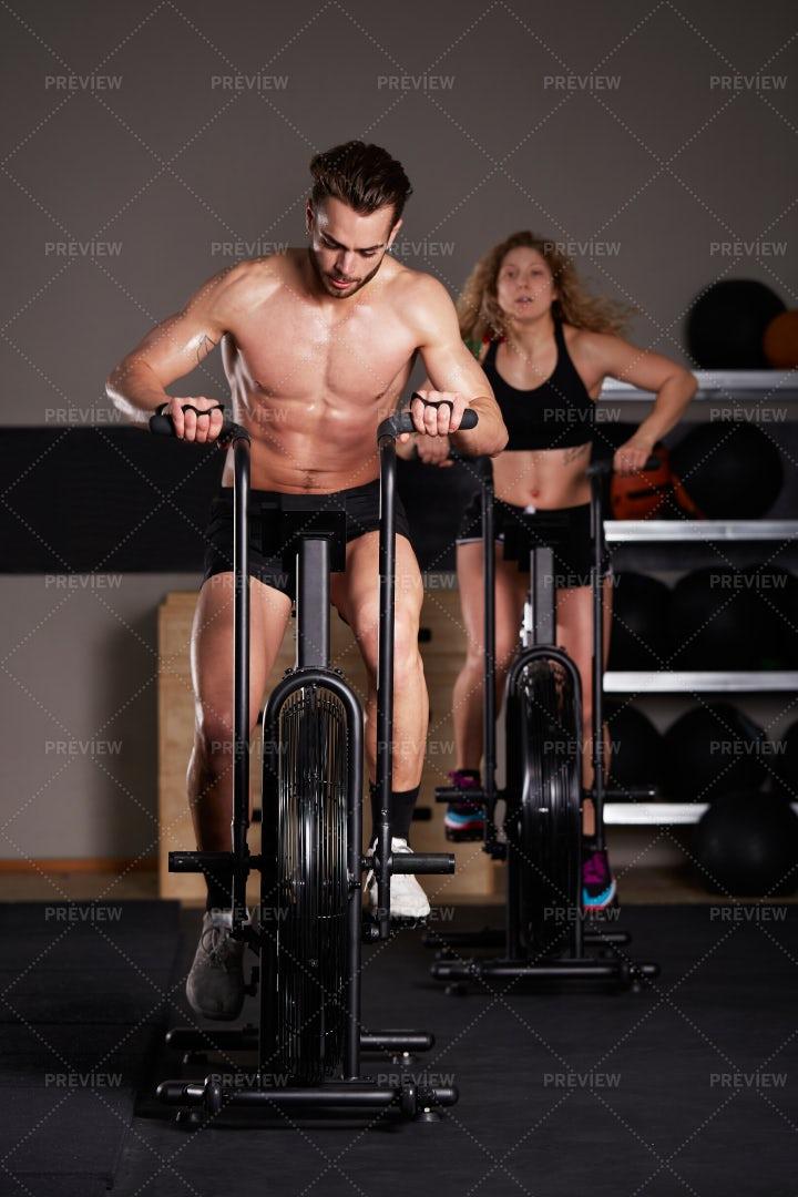 Airbike Workout: Stock Photos
