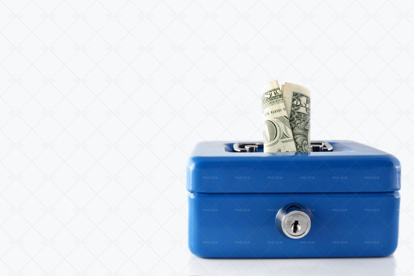 Blue Cash Box With Money: Stock Photos