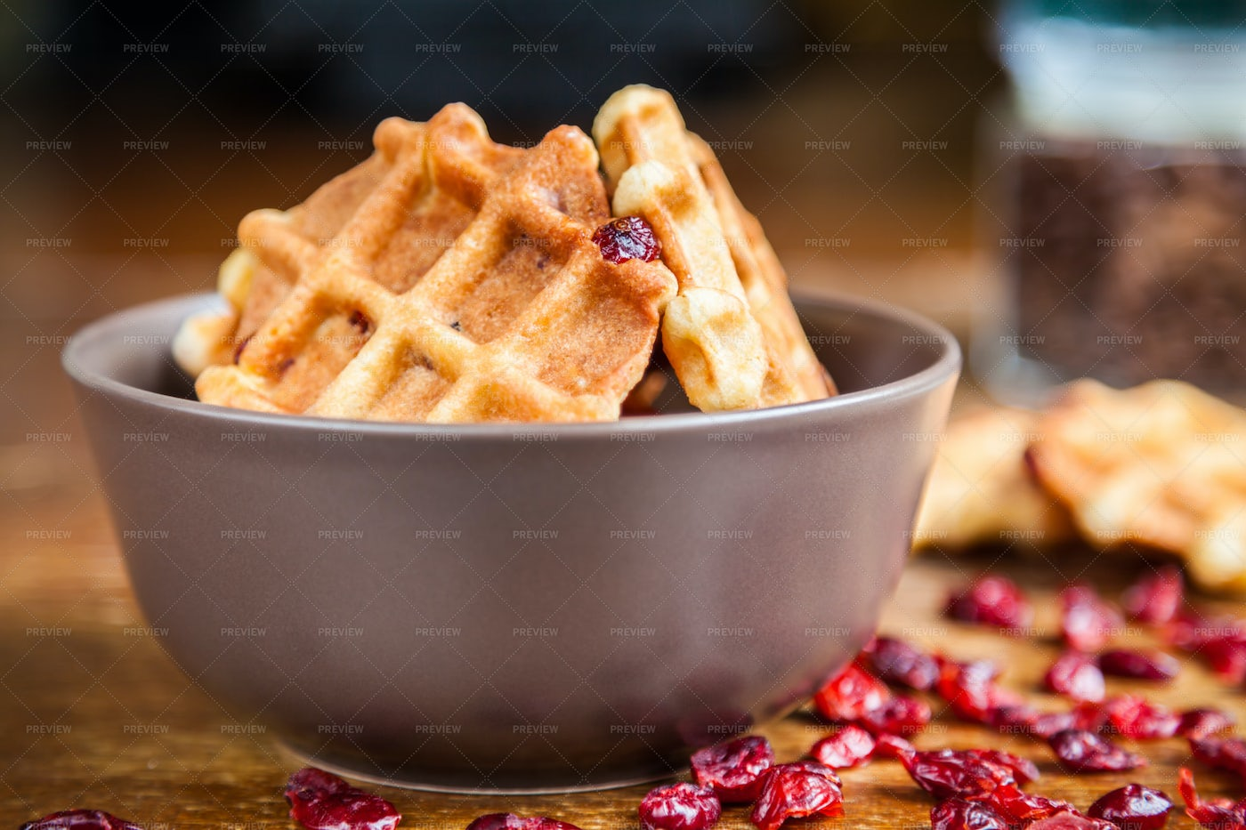 Waffles With Dried Cranberries: Stock Photos