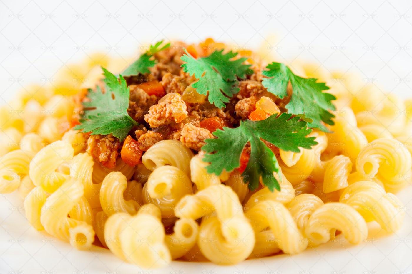 Pasta Bolognese Closeup: Stock Photos