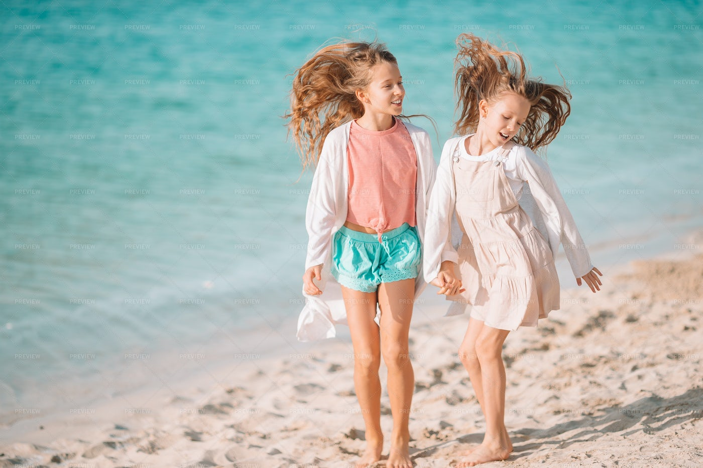 Playing Together On Vacation: Stock Photos