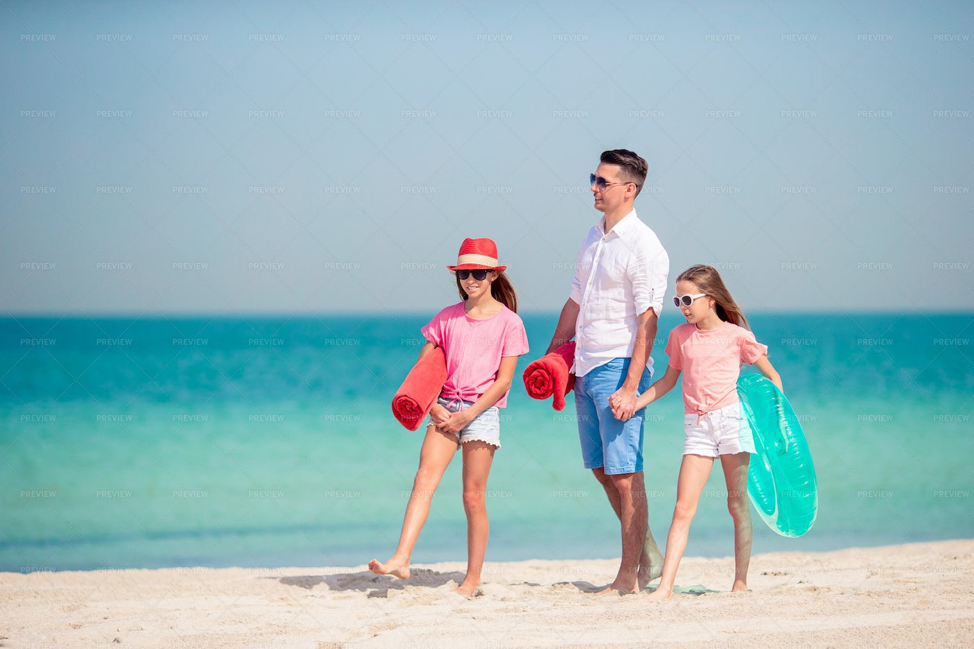 Father And Kids On Beach: Stock Photos