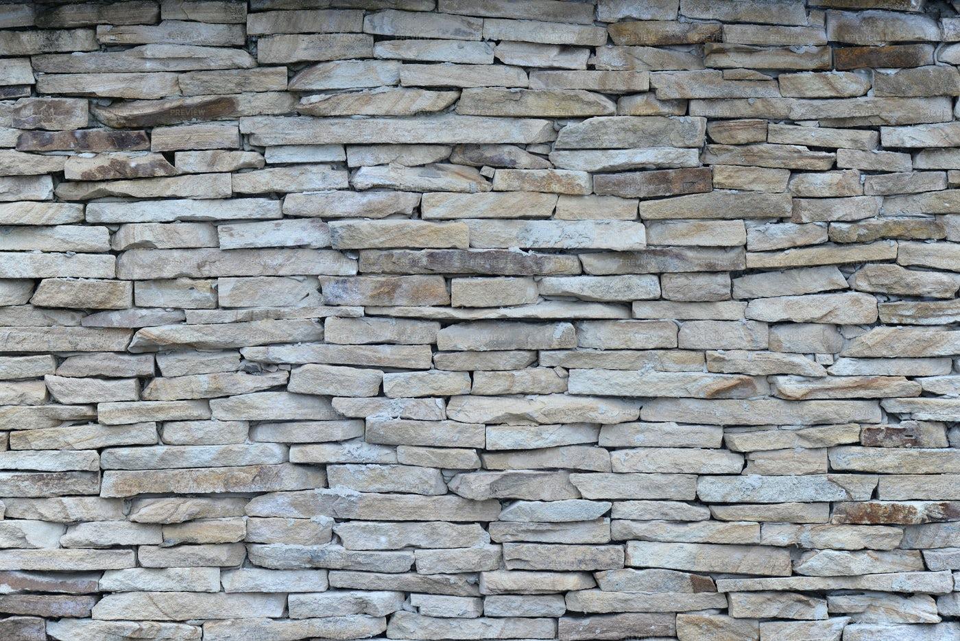 Pieces Of Stones As A Wall: Stock Photos