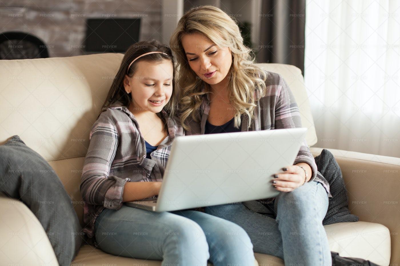Helping Daughter With Homework: Stock Photos
