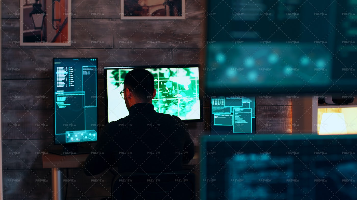 Team Of Organised Cyber Criminals Hackin: Stock Photos