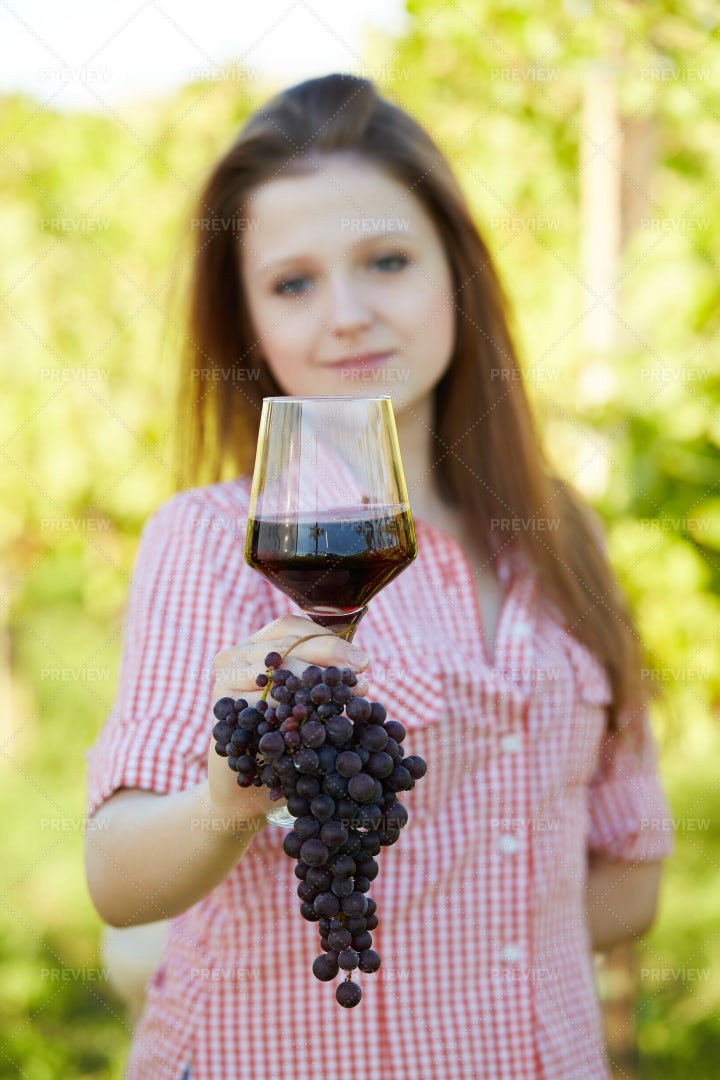 Glass Of Wine And Grapes: Stock Photos