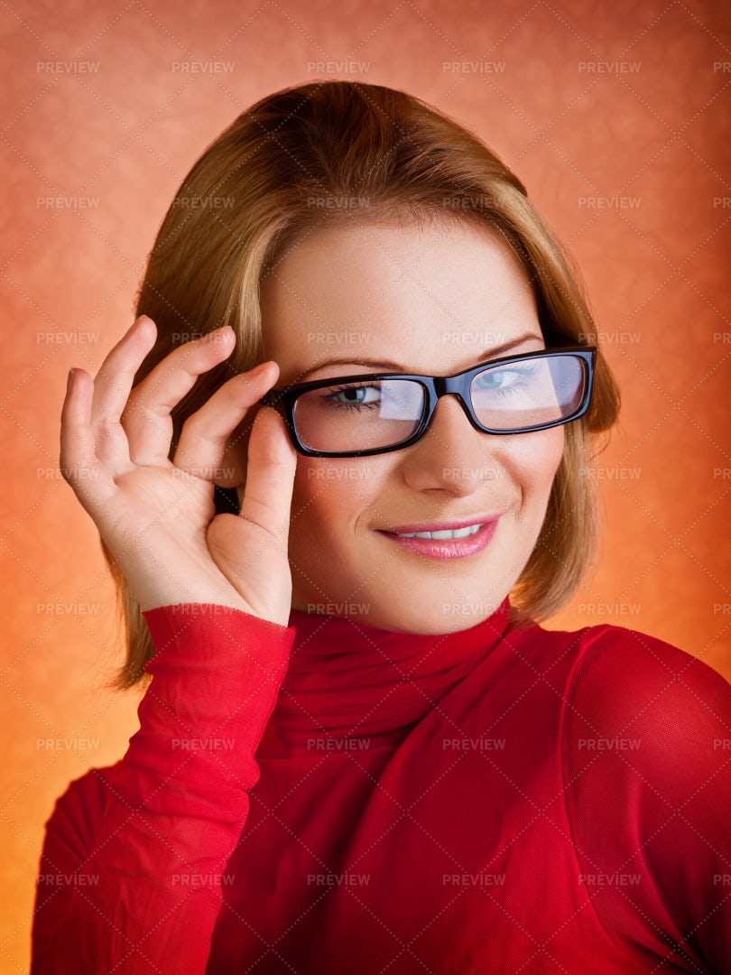 Woman In Glasses: Stock Photos