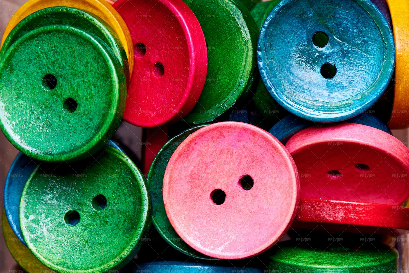 Colored Sewing Buttons: Stock Photos