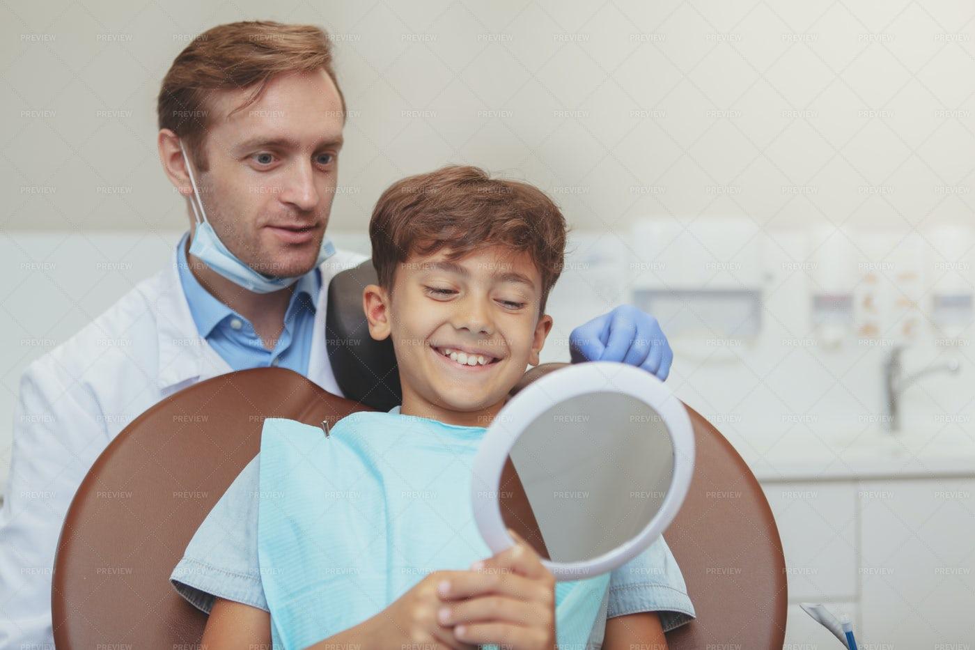 Happy Kid At The Dentist: Stock Photos