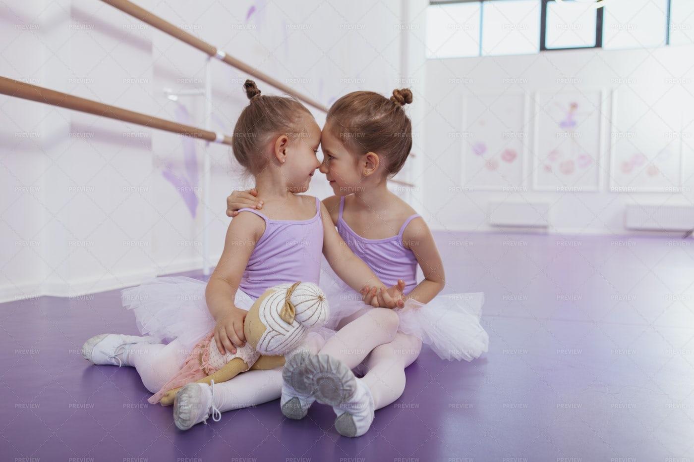 Ballerinas Embracing Each Other: Stock Photos