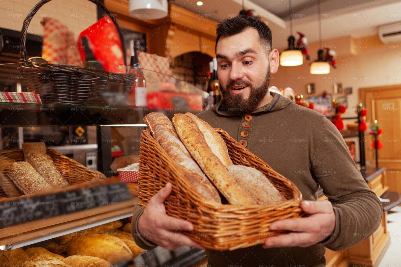 Young Man Shopping Bread: Stock Photos