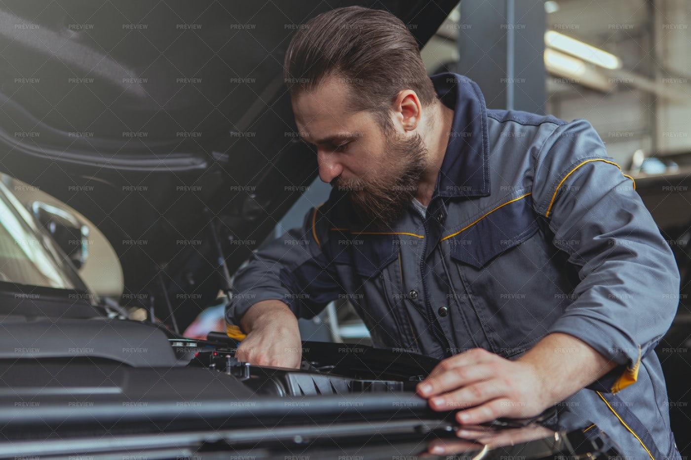Fixing An Engine: Stock Photos