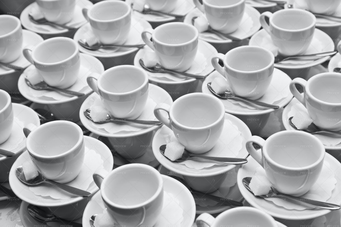 Cups, Saucers And Spoons: Stock Photos