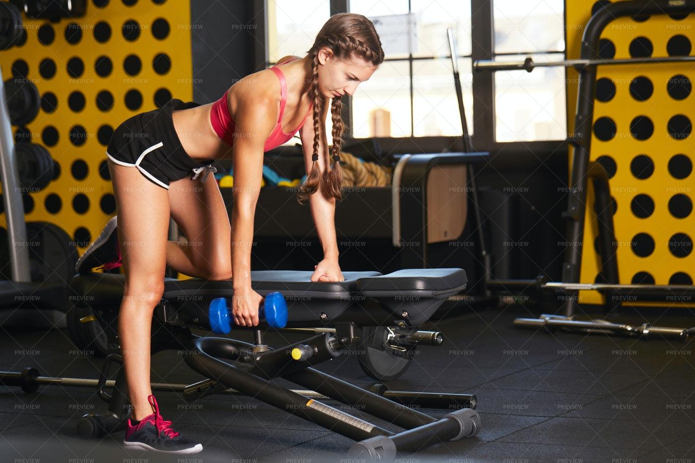 Body Building Workout At Gym: Stock Photos