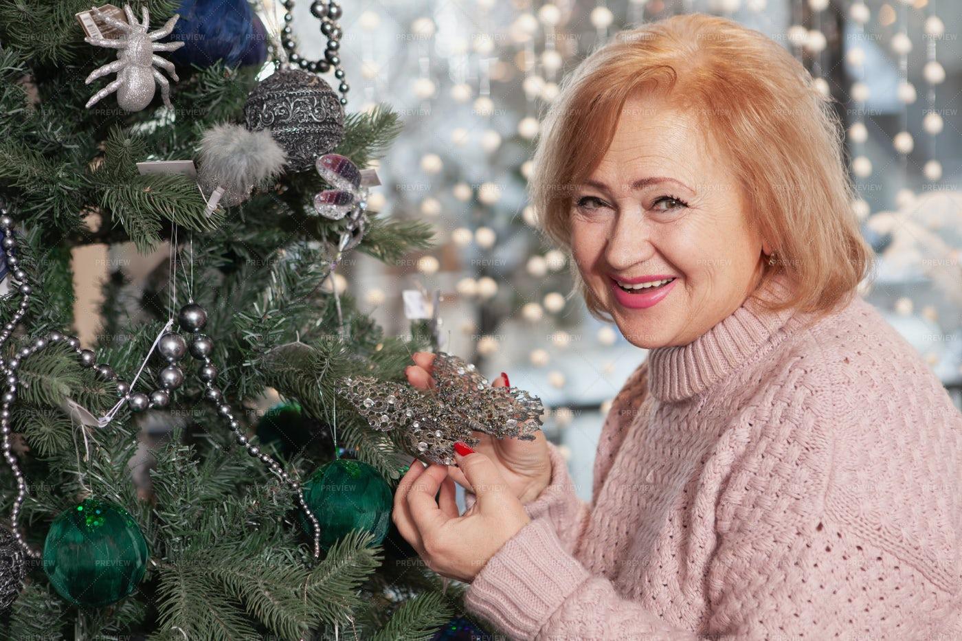 Granmother Beside The Tree: Stock Photos