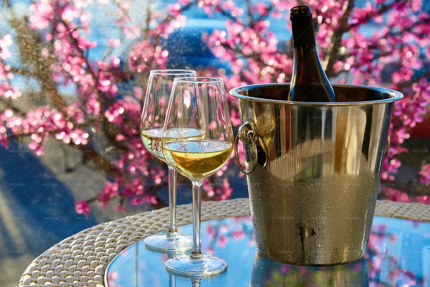 Bucket Of Wine In Spring: Stock Photos
