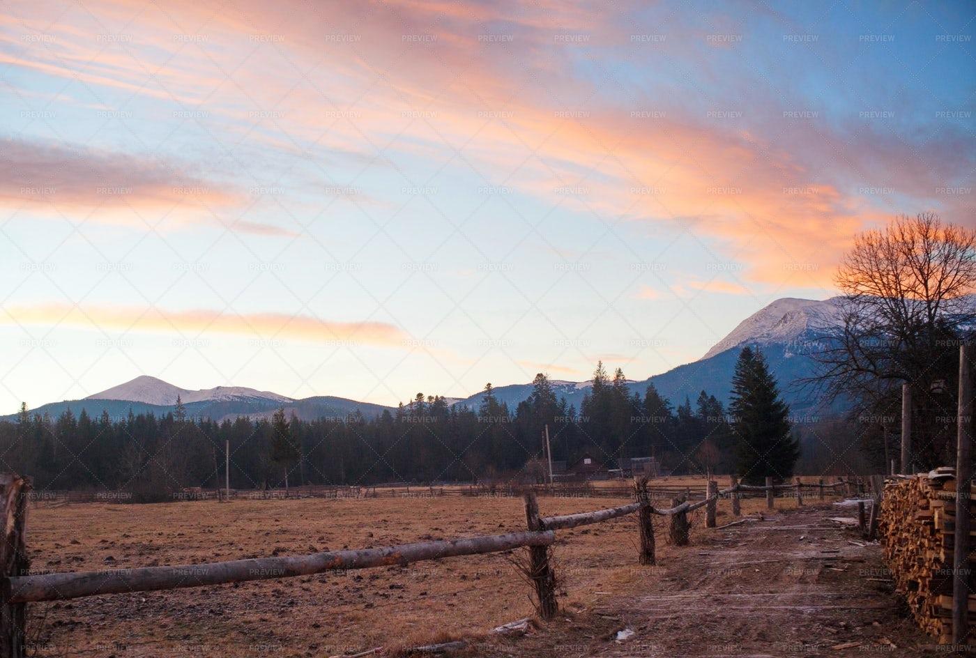 Mountain Village During Morning: Stock Photos
